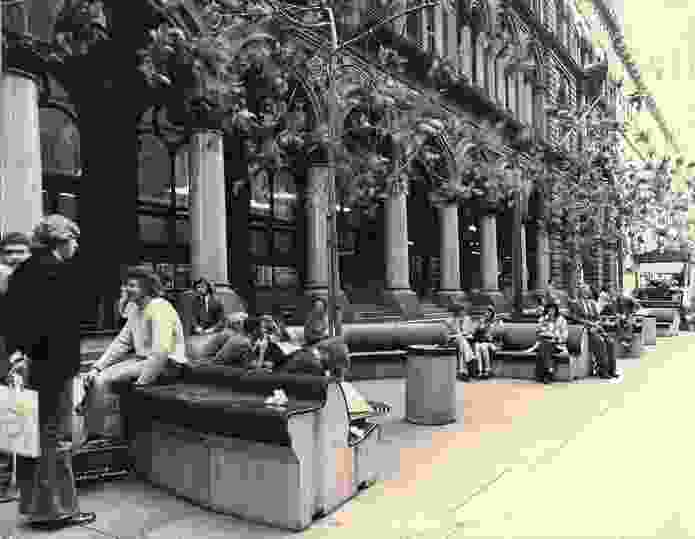 Street furniture in Martin Place, Sydney, designed in 1970 by Nielsen Design Associates.