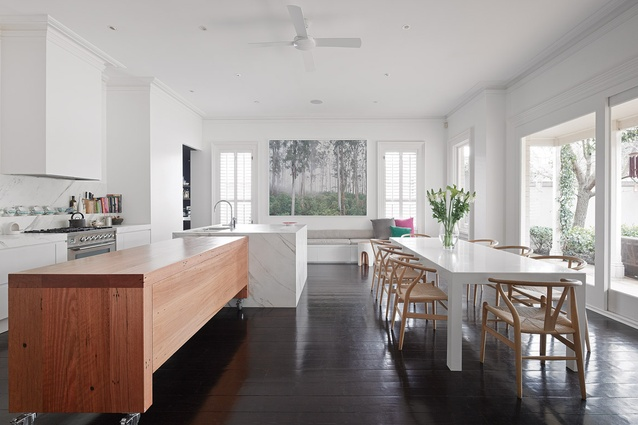 The Clean Lines Of Kitchen And Dining Area Are Punctuated By A Recycled Blackbutt Bench