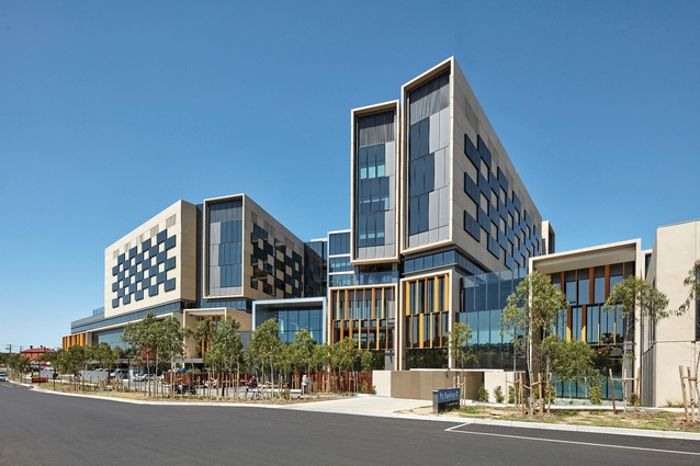 The hospital's facade is modulated by tall, narrow forms that take cues from terrace housing.