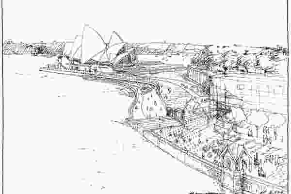 A sketch of proposed alterations to the eastern boardwalk at the Sydney Opera House in Alex Popov's inaugural prize winning scheme.