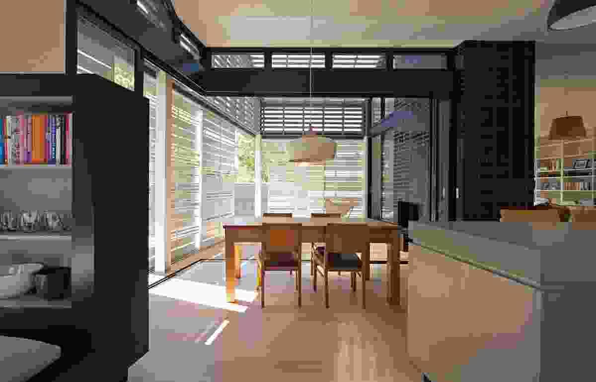 Opening the glass sliding doors extends the 'internal' floor area.