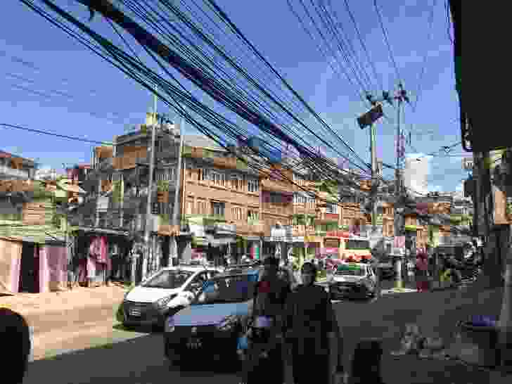 An aerial vista of spaghetti electricity lines that line the road network of Kathmandu.