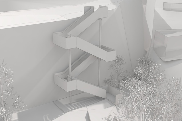 "The proposed ""clip-on"" staircase at HMAS Platypus by Lahznimmo Architects."