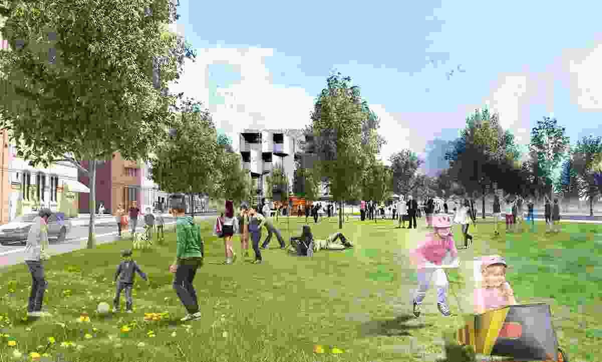 Proposed park at Market Street for passive recreation in the plan to revitalize Newcastle.