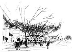 Sketch of the South Lawn and surrounding buildings