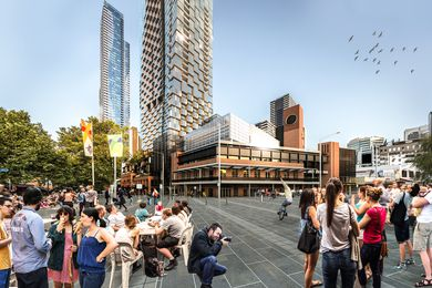 A proposed tower and community hub designed by Bates Smart and Six Degrees Architects adjacent to Melbourne's Queen Victoria Market.