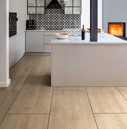 A kitchen featuring Champagne Oak flooring from the Affinity Range.