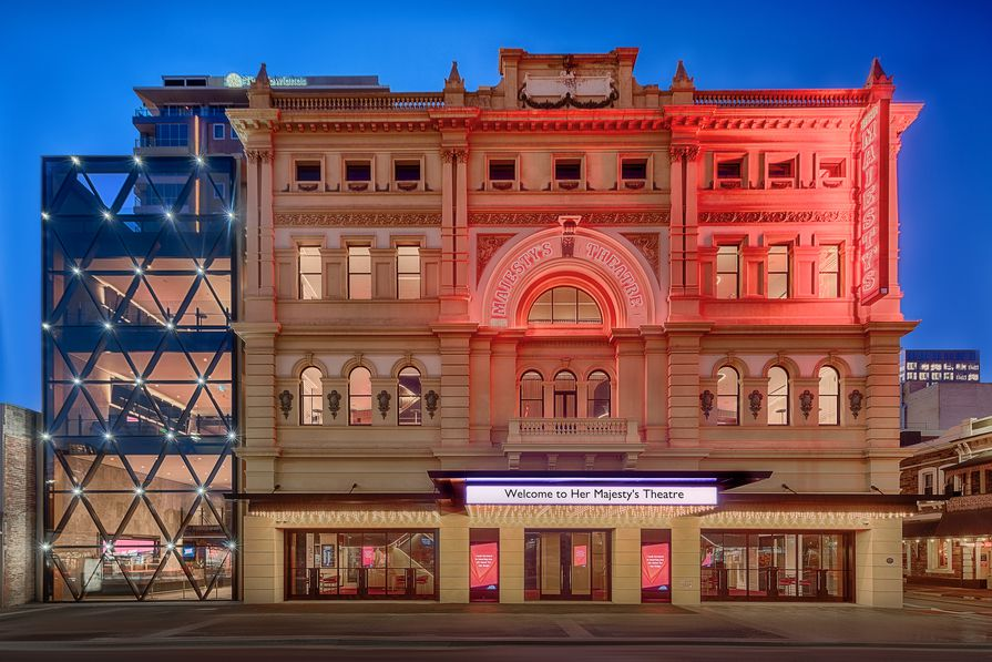 The redevelopment of Adelaide's Her Majesty's Theatre, designed by Cox Architecture, includes a new west wing with a glass facade.