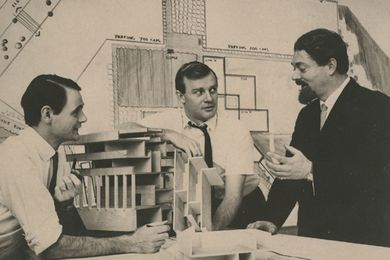 L–R: Michael Hough, John Andrews, and Michael Hugo-Brunt at Scarborough College Library, University of Toronto.