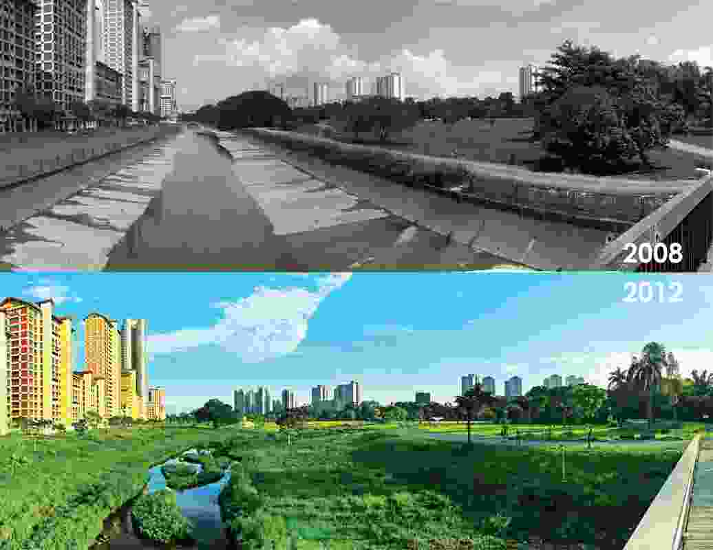 The Bishan-Ang Mo Kio Park renaturalizes a concrete channel into an ecologically rich waterway.