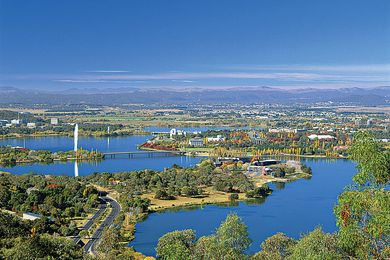 Aerial view of Canberra.