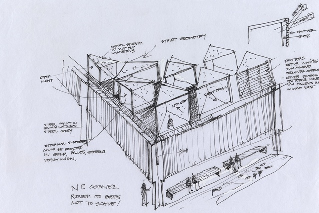 Glenn Murcutt's sketch of the Australian Islamic Centre