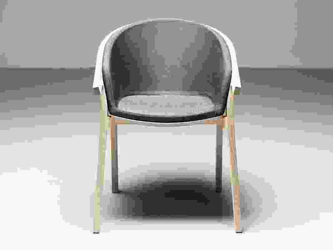 She Said chair with upholstered seat by Studio Nitzan Cohen.