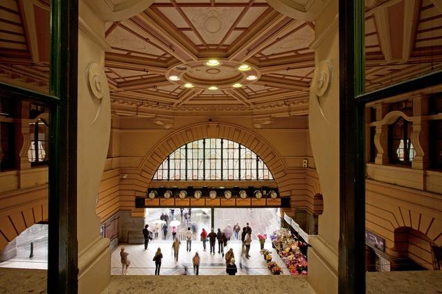 Inside the grand entrance to Flinders Street Station.