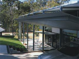 The northern edge of the building, seen from the car bays sheltered by a secondary suspended roof.Image: Jon Linkins
