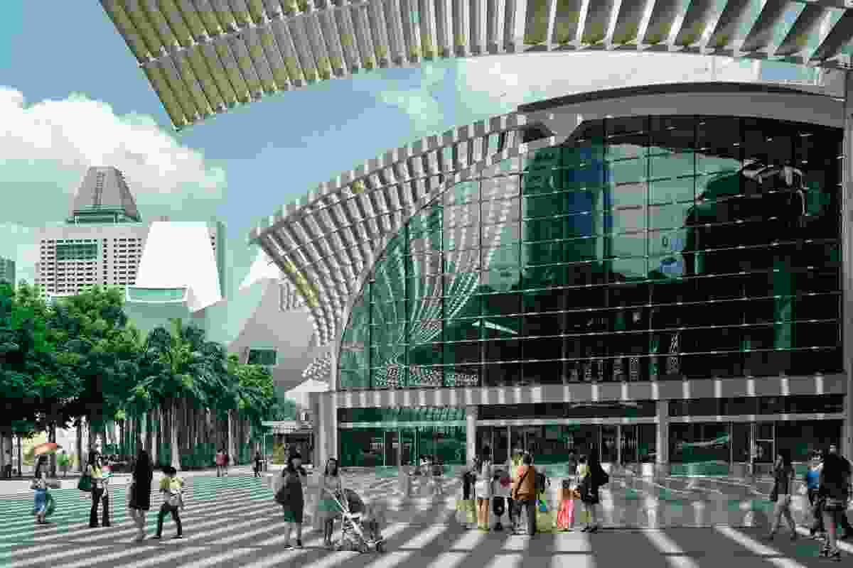 Marina Bay Sands promenade and vortex by Ned Kahn.