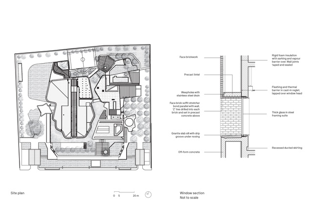 Site plan and window section detail of the Australian Embassy Bangkok by BVN.