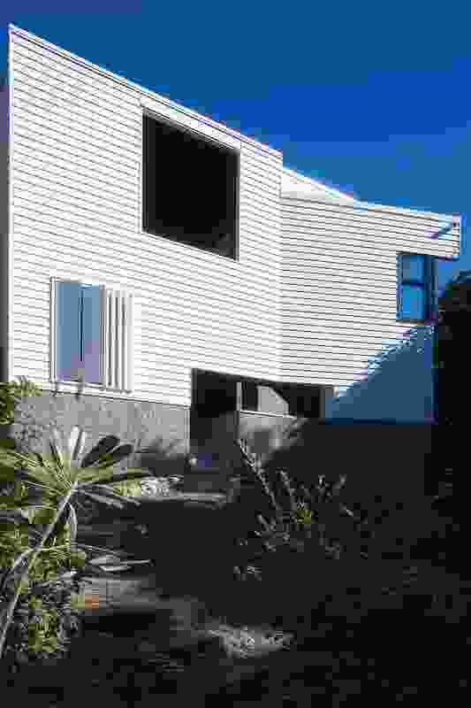 The rear stairwell engages the occupant with the backyard.