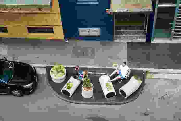 The parklets provide a place for passers-by to sit, and to perhaps grab some herbs.