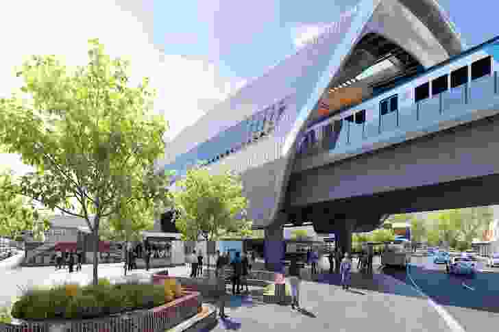 The design for an elevated station at Murumbeena by Cox Architecture.