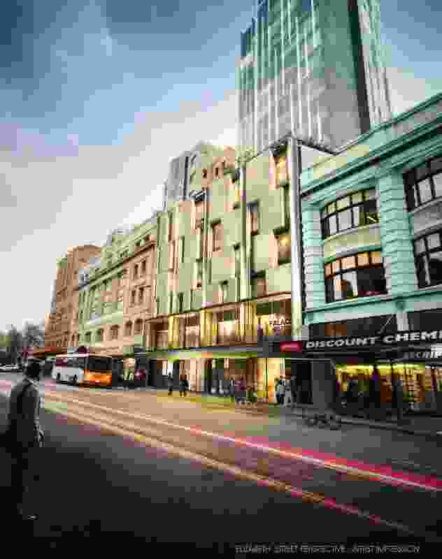 Artist impression of the Palace Hotel from an Elizabeth Street perspective.