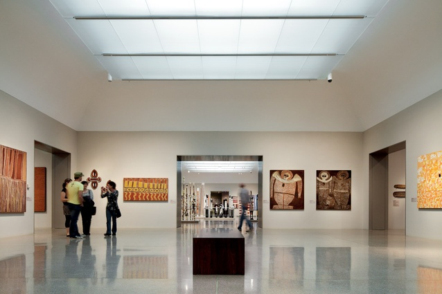View from the Small Bark Paintings gallery into the Urban Aboriginal Art Gallery.