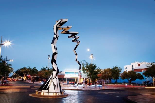 Artist Lorenna Grant's public piece helps calm traffic through Northbridge Piazza.