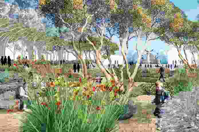 Victoria Square, Adelaide: Mosaic garden with planting from South Australia.