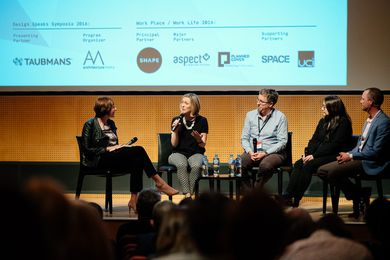 The 2016 Work Place/Work Life forum. Panellists (L–R): Monica Parker (chair), Kursty Groves, Peter Andrew, Su Lim and Cai Kjaer.