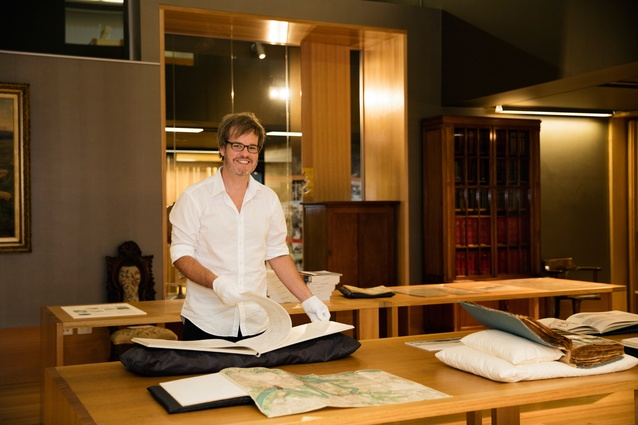John Ellway, curator of the Design Finds exhibition at the Asia Pacific Design Library.