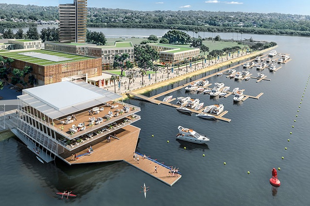 A render of a design concept for the Wentworth Point Rowing Club by Conybeare Morrison.