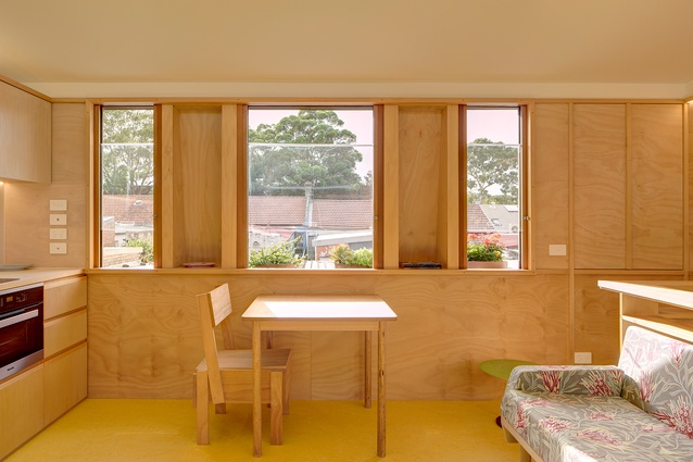 The deep window reveals in Laneway Studio provide privacy and openness simultaneously.