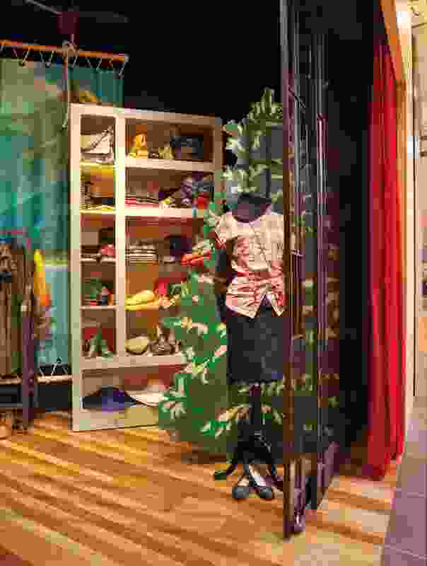 Colourful scenes digitally printed on plywood and canvas represent stage backdrops.