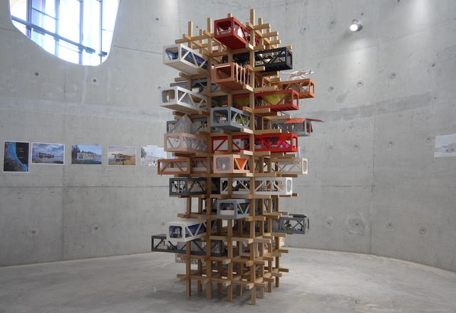 "The three-metre ""Foreverhome"" tower, produced during the 2020 Abedian School of Architecture Design Charrette (led by invited practitioners Rodney Eggleston and Anne-Laure Cavigneaux of March Studio), was produced collectively by the students to explore construction for high-density living."