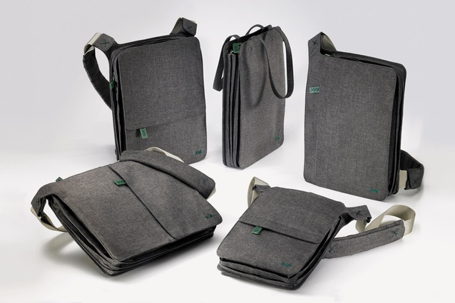 The Bellows bags are made from nylon with a wool finish.