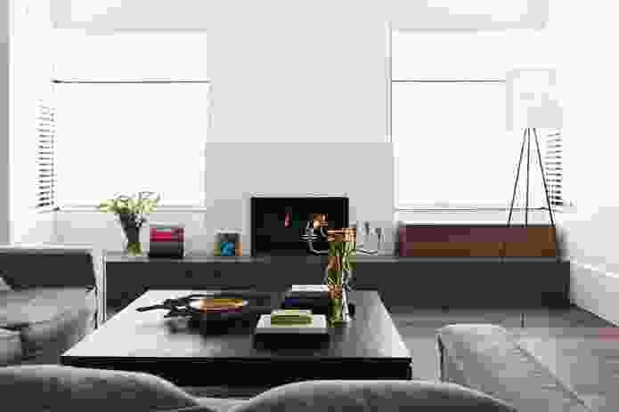 The more formal upper-level living room.