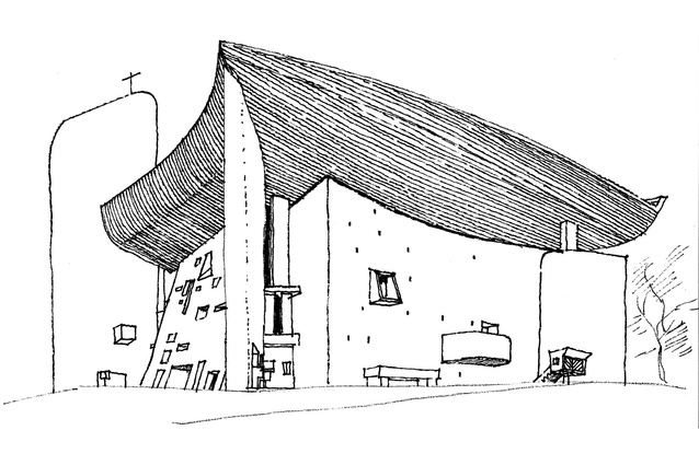 Ken Woolley <em>Ronchamp, 1978,</em> the chapel of Notre Dame du Haut by Le Corbusier.