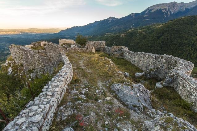 Inside the ruins of Italy's Castle of Roccamandolfi.