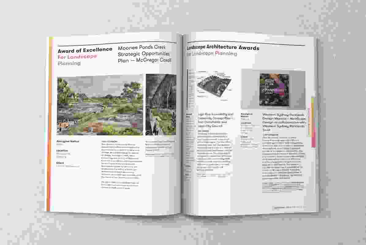 A spread from the November 2019 issue of Landscape Architecture Australia.