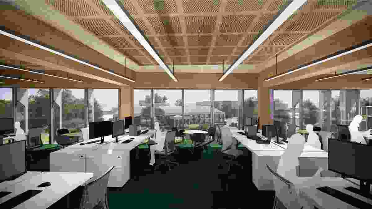 Workspace inside Bendigo Govhub by Lyons Architects.
