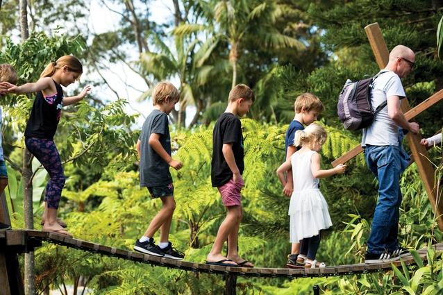 A balancing bridge entices children through a series of imaginative play experiences.