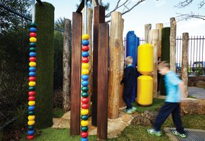 The sensory courtyard at Marnebek School encourages students with intellectual disabilities opportunities to engage in joyful play while communicating with each other.