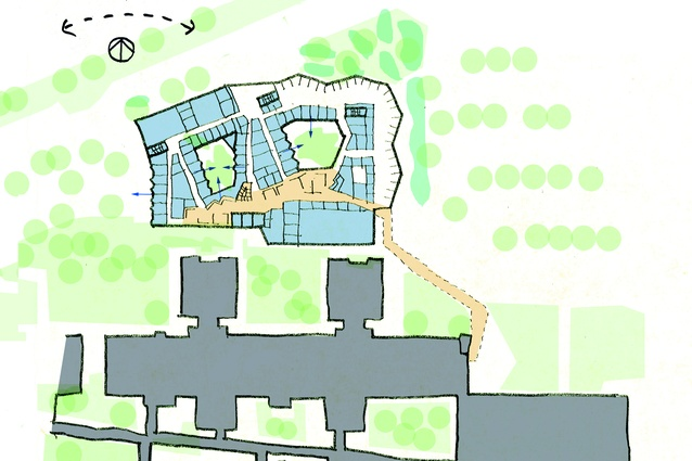The site plan for level one of the the Albury Wodonga Regional Cancer Centre designed by Billard Leece Partnership.