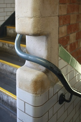 A handrail detail on the stairs.