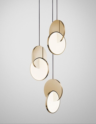 Eclipse Chandelier in Polished Gold Orion Tube.