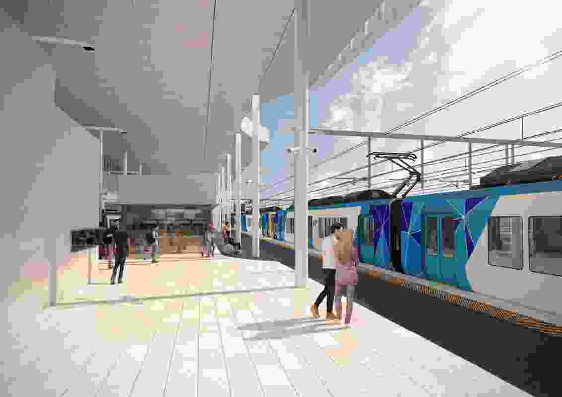 The platform of the updated design for Frankston Station by Genton Architecture and McGregor Coxall.