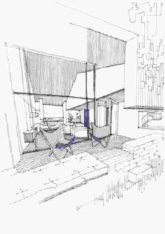 A sketch depicting a view from a rear balcony into a guest room.