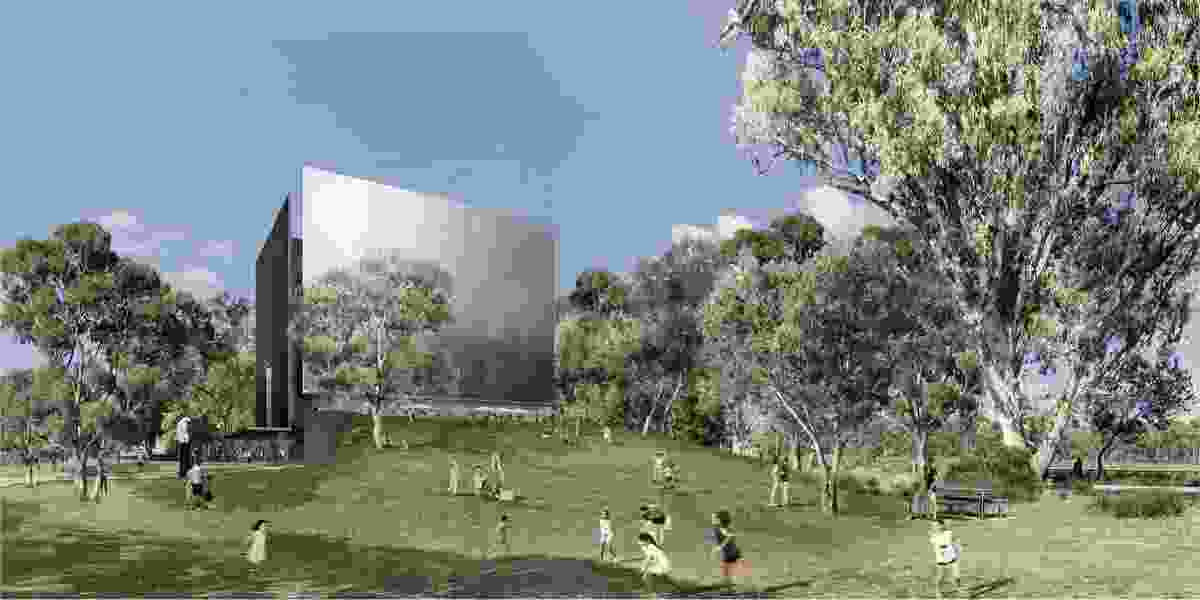 The winning design for the Shepparton Art Museum competition by Denton Corker Marshall.