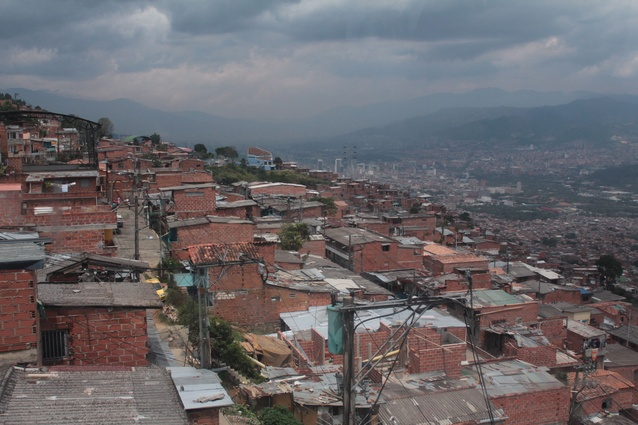 View from the Santo Domingo cable car in Medellín, Colombia.