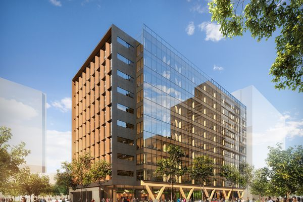 The proposed 5 King engineered timber office tower designed by Bates Smart.